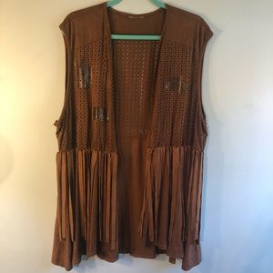 Vintage brown suede fringe edged Vest